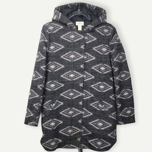 Levis Hooded Gray Southwestern Print Parka Small